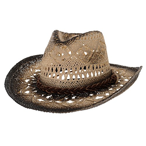 ce50507e615c5 WITHMOONS Sombrero de Cowboy Western Cowboy Hat Cool Paper Straw Banded  Chin Strap GN8765 (Black