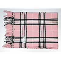 DeluxeComfort Cashmere New England Plaid Feel Plaid Scarves, Pink, One Size