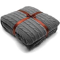 Yachee - Manta de punto de algodón peinado, funda de sofá de algodón peinado, tamaño grande (180 x 200 cm), manta extra suave para cama, sofá (marrón y gris, 180 x 200 cm)