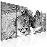 decomonkey Bilder Löwe 200x80 cm 5 Teilig Leinwandbilder XXL Bild auf Leinwand Vlies Wandbild Kunstdruck Wanddeko Wand Wohnzimmer Wanddekoration Deko Tiere Afrika Katze schwarz weiß