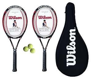 2 x Wilson Envy Comp Tennis Rackets L2 + 3 Tennis Balls