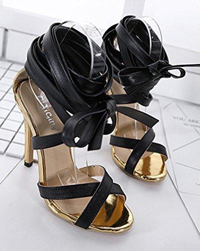 Aisun Femme Mode Talon Haut Aiguille Lacets Croisés Sandales Noir