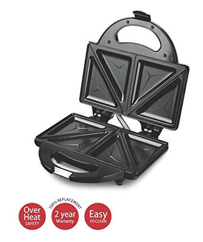 Lifelong 116 Stainless Steel Triangle Plate Toast Sandwich Maker, Black