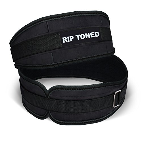 Lifting Belt By Rip Toned - 4.5 Inch Weightlifting Back Support - Powerlifting, Xfit, Bodybuilding, Strength & Weight Training, MMA -