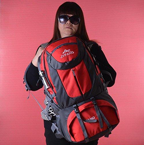 LQABW Outdoor-Reisen Männer Und Frauen Universal-Wear Multi-Funktions-Outdoor-Schulter-Oxford-Tuches Wasserdicht Wandern Bergsteigen Rucksack Tasche Red