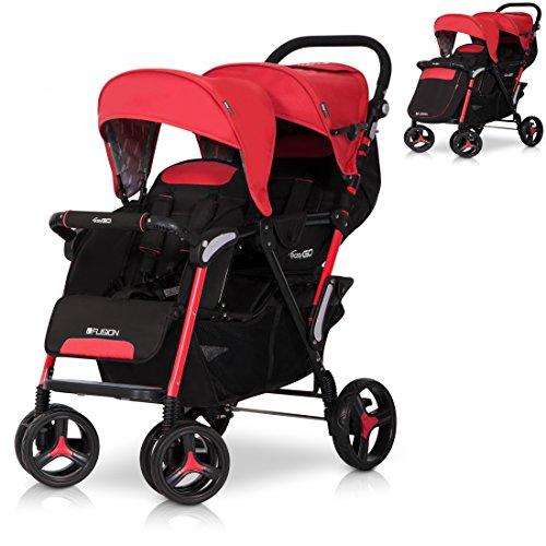 FUSION Zwillinge Geschwisterkinderwagen Baby Buggy Sportwagen klappbar und Liegeposition - Rot SCARLET