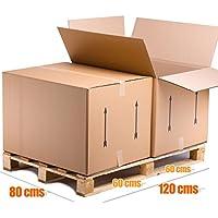 Pack de 4 Cajas de Cartón GIGANTES tipo Baul Doble Pared REFORZADA Lote de 4 unidades