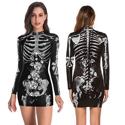 Trisee Damen Halloween Cosplay Kostüm Sexy Eng Party Kleid Skeleton Bloodstain Print Kleid Kalte Schulter Langarm Kleid Festliche Minikleid Gothic Kleid (Maßgeschneiderte Viktorianischen Kostüm)