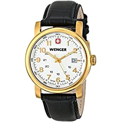 Wenger Urban Classic PVD Men's Quartz Watch with Silver Dial Analogue Display and Black Leather Strap 011041110