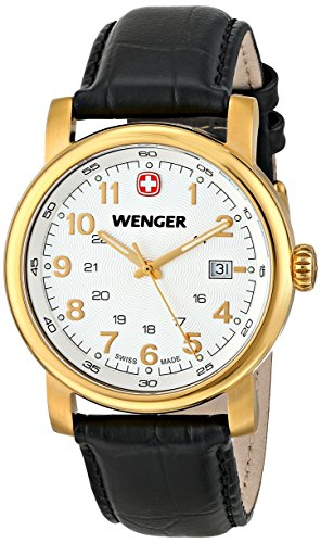 Wenger Herren-Armbanduhr XL URBAN CLASSIC PVD Analog Quarz Leder 01.1041.110