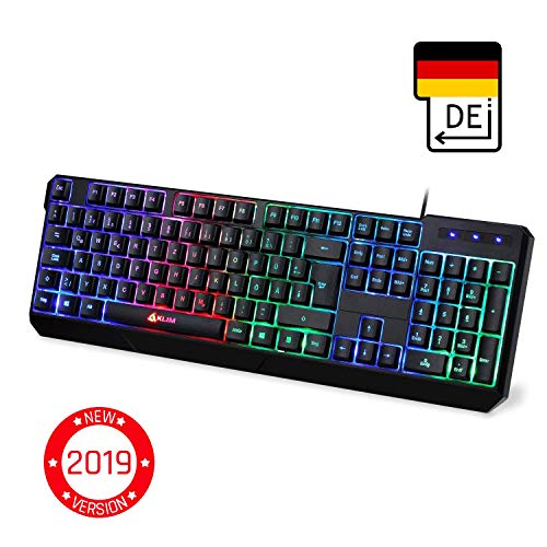 KLIMTM Chroma Gaming Tastatur - Gamer Keyboard LED Beleuchtete QWERTZ DEUTSCH mit USB Kabel - Hohe Leistung - Bunte Beleuchtung RGB - PC, Laptop, PS4, Xbox One X - 2019 Version - Schwarz - Beste Slim-tastatur