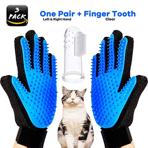 VIAOI Pet Grooming Gloves + Soft Silicone Pet Finger Toothbrush, Efficient Deshedding Gentle Groomer Mitt Magic Massage Hair Removal Tool for Cats & Dogs & Horses - Long & Short Fur (1 Pair Gloves) -
