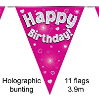Happy Birthday Pink Holographic Foil Party Bunting 3.9m Long 11 Flags