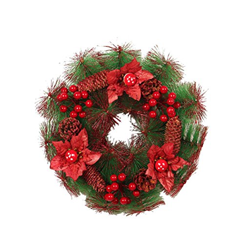 Amosfun Christmas Wreath Door Wall Ornament Pine Needle Garland, 30 cm
