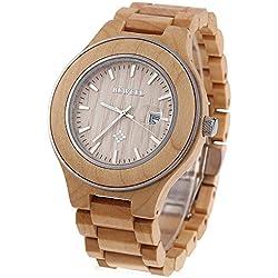 Leopard Shop Bewell ZS-w100ag Herren Quarz Armbanduhr phosphoreszierende Zeiger Datum Nail Maßstab Holz Armbanduhr Hellbraun