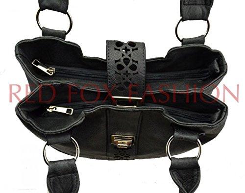 LeahWard Frauen weiche leichte Schulter Handtaschen Qualität Faux Leder Handtaschen für Frauen Für die Schule CW14106 (Perle Schultertasche) Blau/Marine Schultertasche