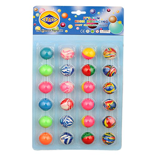 ZINIZONY Colorful Bouncy Balls, Stress Reliever Fun Play Balls ( Birthday return gift for kids)- 24 pcs