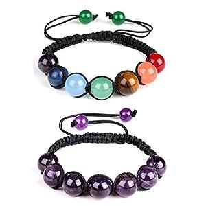 2PCS 7Chakren Yoga Perlen Armband Kristall Armband geflochten Seil 10mm Perlen Naturstein Armband Reiki Healing Armreif