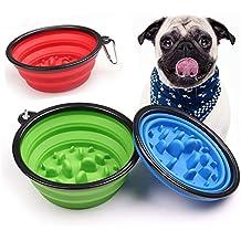 Hehh Tuoba Fish Tazón De Comida Lenta para Mascotas, Tazón De Perro Anti-Raza para Uso En Exteriores, Tazón Plegable Portátil para Perros, Agua Y Comida ...