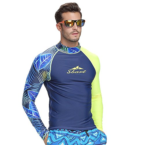 Herren Rash Guard UV-Sonnenschutz Basic Skins Long Sleeve Crew Sun Shirt Neoprenanzug MZ Garment - leaf - xxl (Neoprenanzüge Crew Skins Guard Rash)