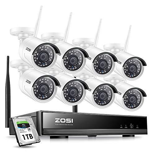 ZOSI 8CH HD 1080P H.265+ Funk Überwachungskamera System mit 1TB Festplatte Wireless HDMI NVR mit 8 Außen 1080P WLAN Kamera Video Überwachungsset für Indoor/Outdoor, 30M IR Nachtsicht