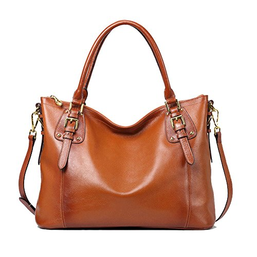 Bolso de Piel Bolso Cuero de Hombro Tote Bag para Mujer Marrón
