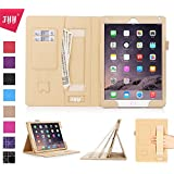 iPad Air 2 Case, iPad Air 2 Cover, Fyy® [Luxurious Protection] Premium PU Leather Case Smart Auto Wake/Sleep Cover with Velcro Hand Strap, Card Slots, Pocket for iPad Air 2 Gold