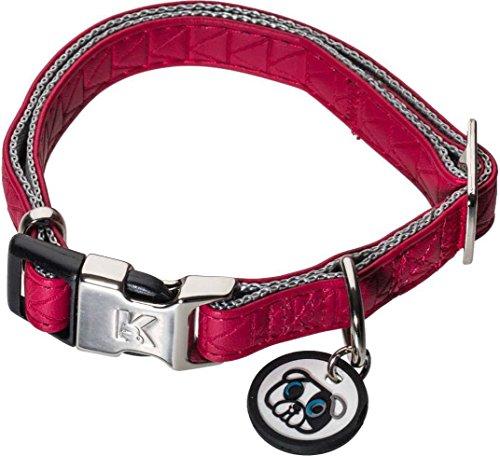 Karl Lagerfeld Haustiere Hunde Halsband aus Weichem Leder, Verstellbar, Farbe: Rot, Größe: 15