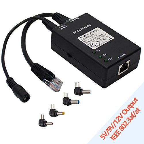 ANGISION Aktiver Gigabit PoE Splitter Adapter mit Multi-Size Tipps, 10/100 / 1000Mbps IEEE 802.3af kompatibel, DC 5V 9V 12V Power Ausgang für IP Kamera Wirelss AP Voip Phone