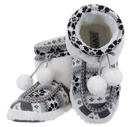 Damen Hausschuhe Hüttenstiefel Flausch gefüttert mit Bommel und rutschfester Sohle Norweger-Design Grau