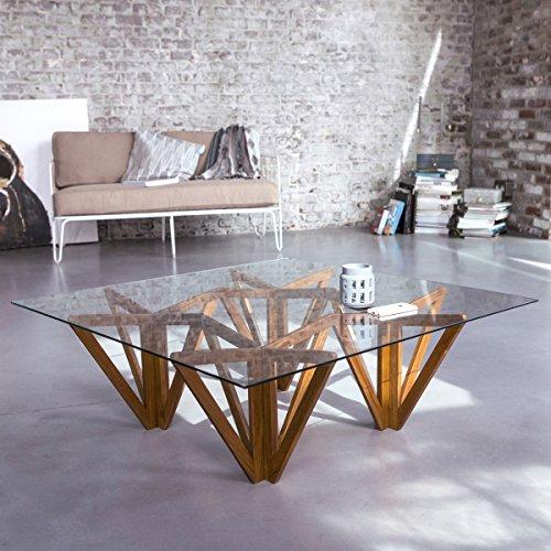 Tikamoon Mona Table Basse - Teck - Beige - 100 x 100 x 35 cm
