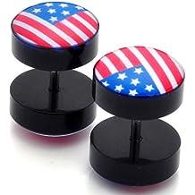 Cameleon-Shop Faux Ecarteur Plug-Orecchini in acciaio inossidabile, motivo: bandiera USA, 10 mm
