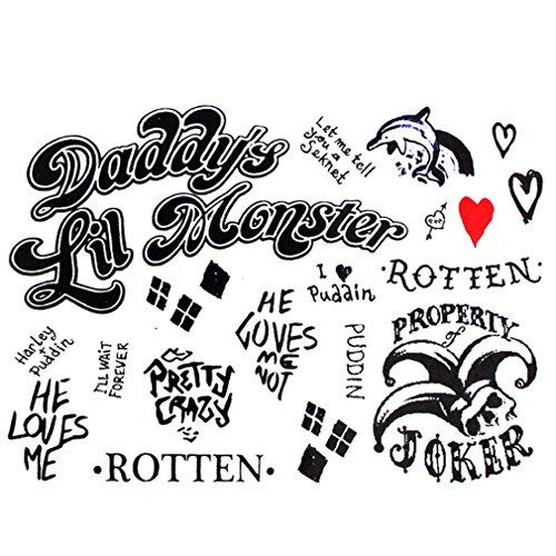 ad Selbstmord - Joker Harley Quinn Tattoo-Bogen temporär - Aufkleber Körperkunst abziehbar - Karneval Fasching Halloween (Harley Quinn Aufkleber)