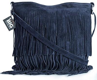 Big Handbag Shop Sac à main bandoulière à franges en daim avec frange sac