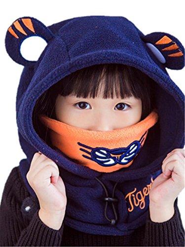 sunnymi Babyhut Mütze Junge Mädchen Unisex Schutz Mit Nackenschutz Taufe Festlich Herbst Winter Anzug für 1-4 Jahre alte Kinder Baumwolle (Blau) (Shorts Bettwäsche Vintage)