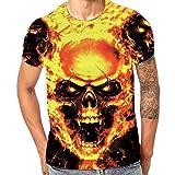 Kanpola Oversize Herren Shirt Slim Fit Schwarz Adler Totenkopf 3D Bedruckte Kurzarmshirt T-Shirt Tee (Gold, 5XL/60)