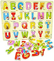 Popsugar Alphabets Wooden Puzzles with Knobs for Toddler and Kids | Educational, Shape Sorter, Learn Alphabets