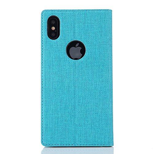 iPhone X Caso, Moda Giovanile Colore + PU pelle TPU Guscio morbido + slot per schede E supporto Adatto per iPhone X (5.8-Pollici Oro) Verde