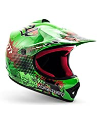 "ARMOR · AKC-49 ""Green"" (Grün) · Kinder-Cross Helm · Sport Off-Road Kinder Moto-Cross Enduro Motorrad · DOT certified · Click-n-Secure™ Clip · Tragetasche · M (55-56cm)"