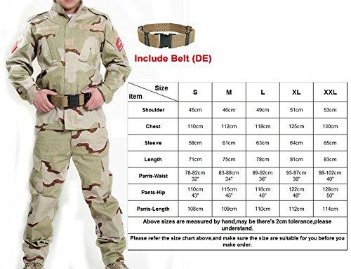 H Welt Shopping Herren Shirt Tactical BDU Combat Uniform Jacke & Hose Anzug für Armee Militär/Paintball/Jagd Shooting Krieg Spiel Wüste Camo DC, Desert Camo (Camo Uniform Bdu)