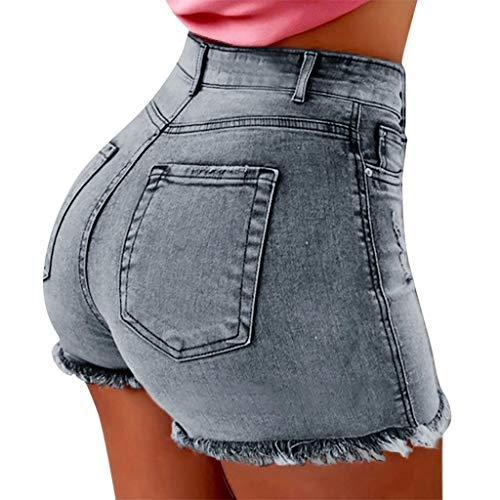 Deloito Neu Sommer Kurz Hotpants Damen Mode Jeans Shorts Sexy Taschen High Waist Denim Mini Hose mit Taschen (Hellblau,X-Large) Diva Jumpsuit