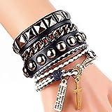 Cool Fashion Punk Leather Street Rock Multilayer Bracelet 8 Color