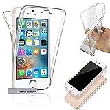 Coque Double Gel 360 Degres Protection Integral Anti Choc Etui Ultra Mince Transparent Invisible Compatible pour Apple Iphone 5/5S/5C/SE (4' Pouces)