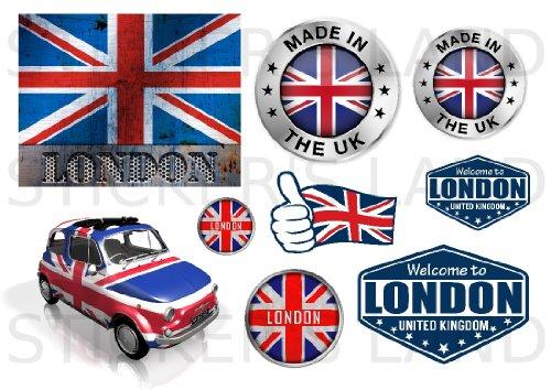 STICKERS DÉCORATIFS LONDRES pré-découpés (Planche à stickers DIMENSIONS 30x42cm en PAPIER ADHESIF TRANSPARENT)