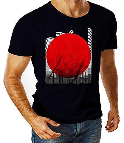Billion Group | Tokyo Japan Countries | City Collection | Men's Ben Crew Neck Classic Tshirt Bleu