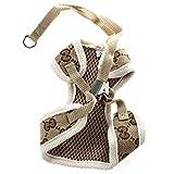Haustier Softgeschirr + Halsband - SODIAL(R)Softgeschirr Brustgeschirr Hundegeschirr Hundehalsband Welpengeschirr + Halsband, Hellbraun S