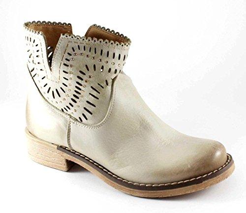 MADNESS DIVINE 4014 beige nubuck chaussures bottes strass femmes motards trous Beige