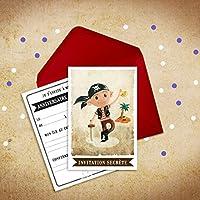 6 Miniz Invit' et enveloppes - Invitation anniversaire Jack le pirate (en français)