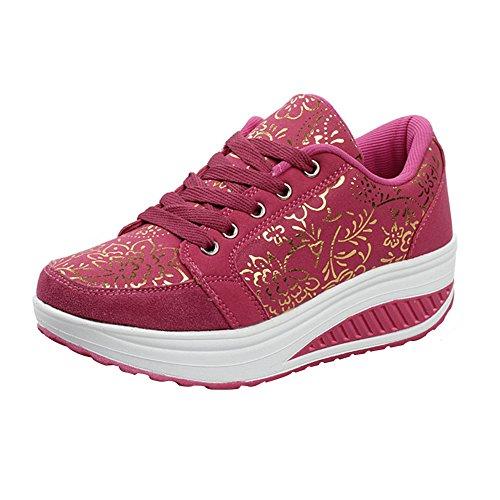 Damen-Schuhe der beiläufigen Sport-Wandern Breath Drucken Schaukel Keil-Schuhe, Rose Rot, 39(Passt für EU 38)