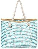 styleBREAKER Damen XXL Strandtasche mit Streifen und Melone Früchte Print, Reißverschluss,...